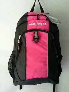 Swiss Gear Lightweight Backpack Book Bag SA1722 Black & Fuchsia   eBay