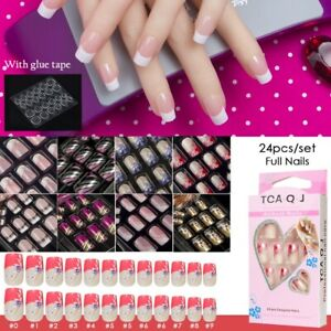 Full-Cover-False-Nail-Art-Design-With-Adhesive-Glue-Tab-Press-On-Nails-Care-New