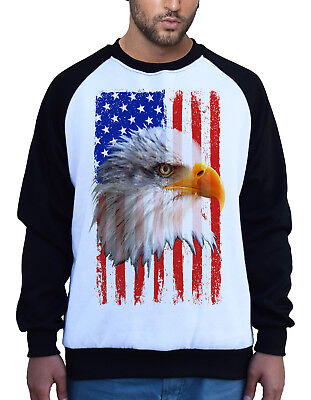 4th Of July American Flag Bald Eagle Henley Mens Pullover Sweatshirt