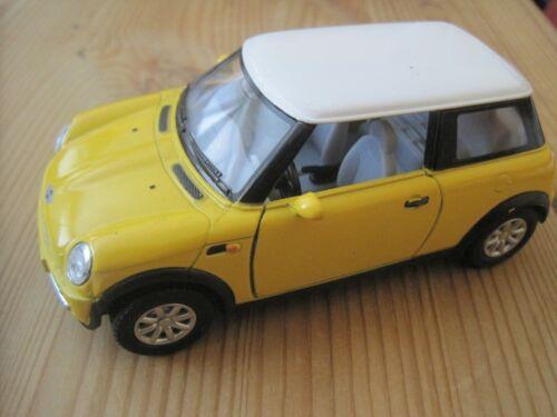 Mini Cooper gelb ca 12cm   Metalmodel mit Rückzugmotor