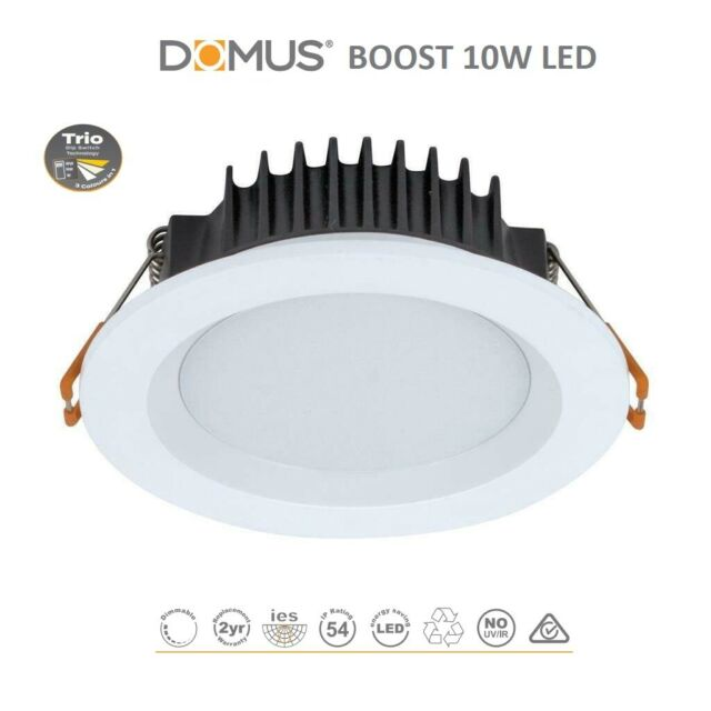 the best attitude 5b41a 3cdd5 Domus 20726 Boost White Round 10W LED Downlight Tri Colour Down Lights Light