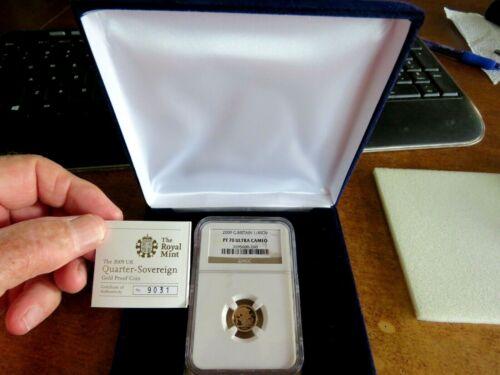 2009 Great Britain Gold 1//4 Sovereign NGC PF 70 Ultra Cameo FELT BOX /& COA