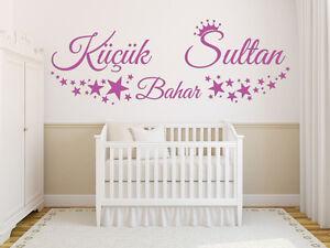 Wandtattoo k c k sultan wunschtext kinderzimmer prinzessin baby stern wunschname ebay - Wandtattoo kinderzimmer prinzessin ...