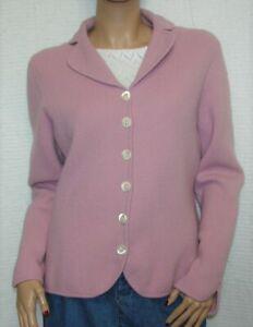 Ann-Taylor-Angora-Wool-Blend-Pink-Mauve-Cardigan-Sweater-Size-L-Long-Sleeve