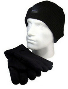 New-Beanie-Hat-And-Glove-Set-Thinsulate-Insulation-40g-Black-One-Size-RJM-BNWT
