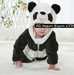 finest selection 5d115 ca80d Details about Panda Bear Costume Carnevale Calda Tuta Pile Bambino Baby  Costume Onesie PAND02