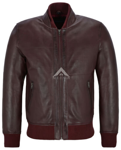 Blue Smith Ultra Handsome Men Perforated Real Leather Bomber Style Jacket 4348