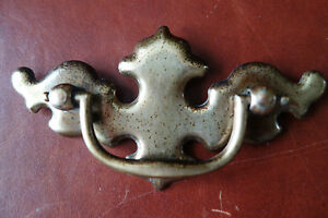 "KBC Keeler 1960s Drawer Pull Handle Aged Dark Brass 2-1//2/"" Centers 1 Vintage"