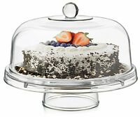 Dailyware Cake Dome Glass 6-in-1 Footed Stand Plate Lid Cover Wedding Clear Pie