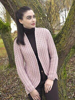 Ladies Pink Cable Knit Aran Bolero Cardigan X4895 Aran Crafts SALE | eBay