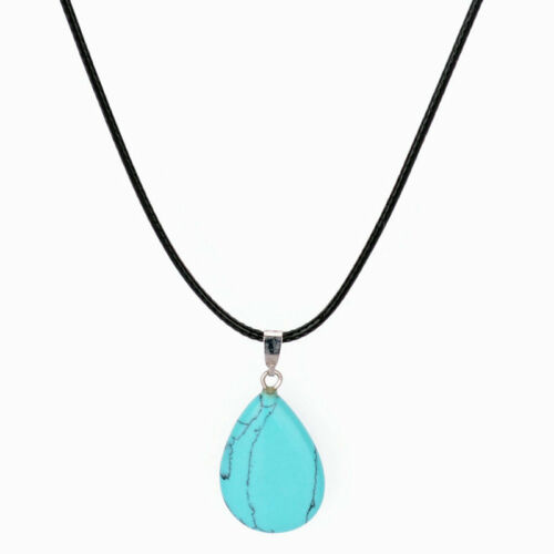 Natural Stone Water Drop Charm Women Men Leather Choker Jewelry Pendant Necklace