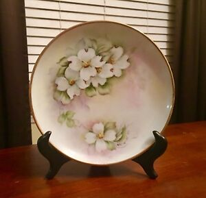 Beautiful-Limoges-Handpainted-Floral-Porcelain-Collectible-Signed-Plate