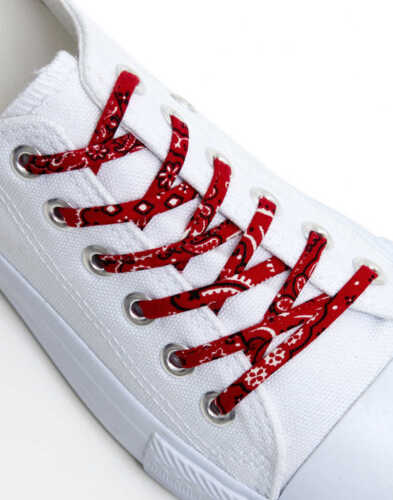 Red Bandana Cute Laces Funky Shoelaces made from Bandanna Fabric