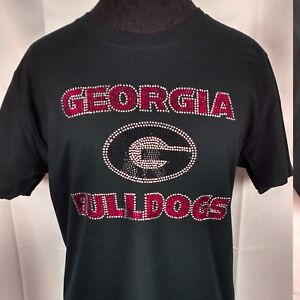 buy popular e0b2c f39d9 Details about Women's Georgia Bulldogs Rhinestone Football T Shirt Tee  Bling Lady