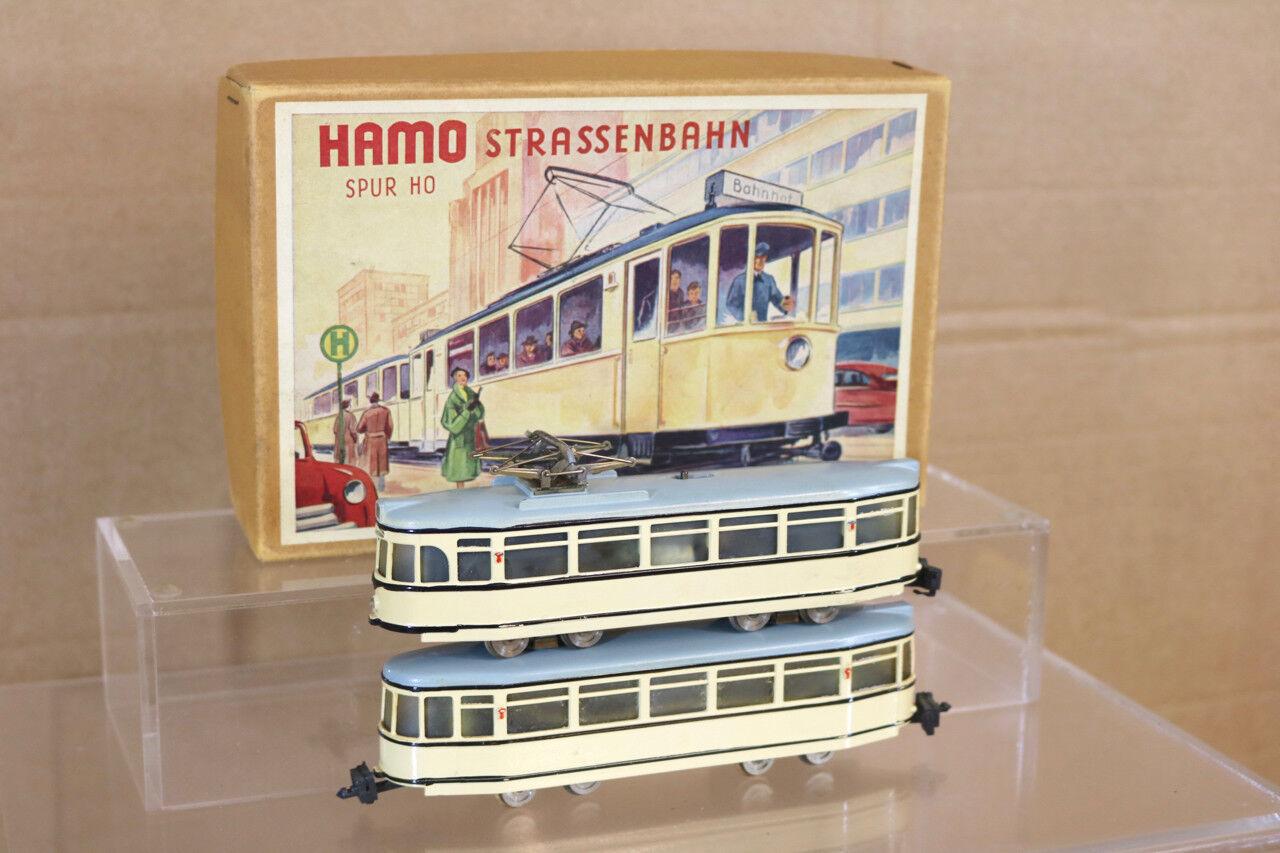 HAMO 111 HO GAUGE STRASSENBAHN 2 CAR TROLLY TRAM CAR SET MINT BOXED nl