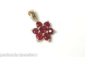 9ct-Gold-Ruby-Cluster-Necklace-Pendant-no-chain-Gift-Boxed-Made-in-UK