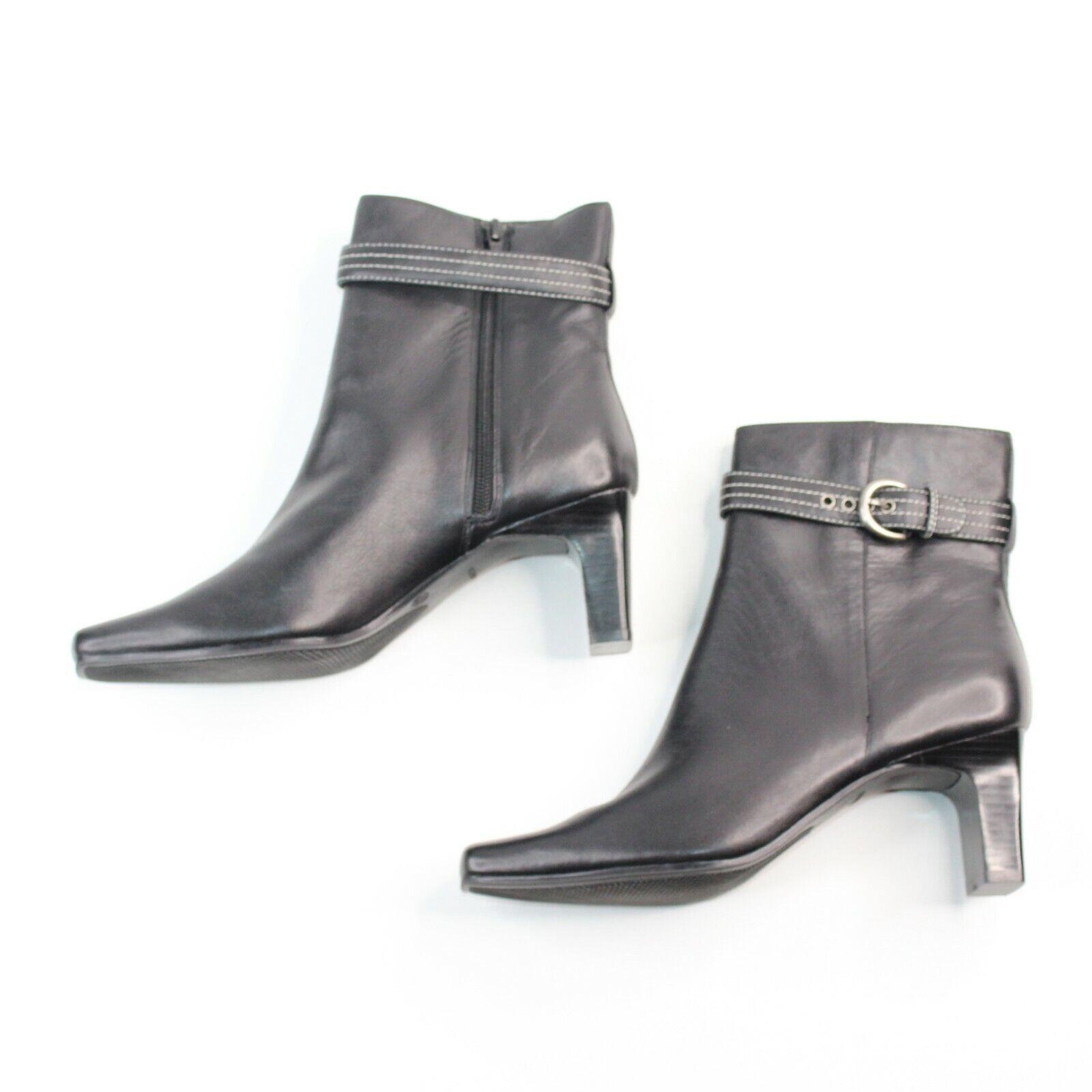 Markon mujer SZ 9.5M Negro Cuero Tacón De Bloque De Alta Moda botas al tobillo Botines
