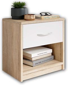 Comodino in legno color rovere e cassetto bianco, Elegante arredo per la camera