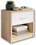 miniatura 1 - Comodino in legno color rovere e cassetto bianco, Elegante arredo per la camera