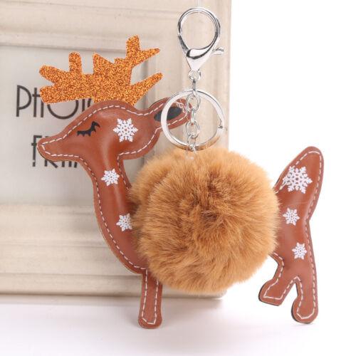 Xmas Fluffy Rentier Deer Faux Kaninchen Pelz Tasche Auto Keychain