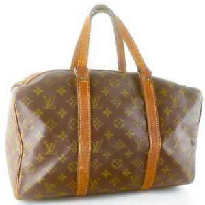 LOUIS-VUITTON-SAC-SOUPLE-35-Old-Model-Boston-Travel-Bag-Purse-Monogram-Brown