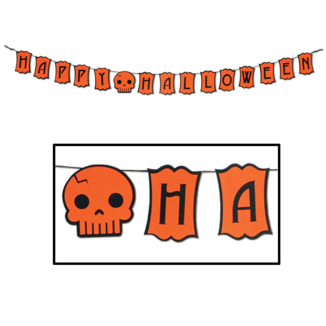 HALLOWEEN Party Decoration Fabric FELT STREAMER Banner HAPPY HALLOWEEN