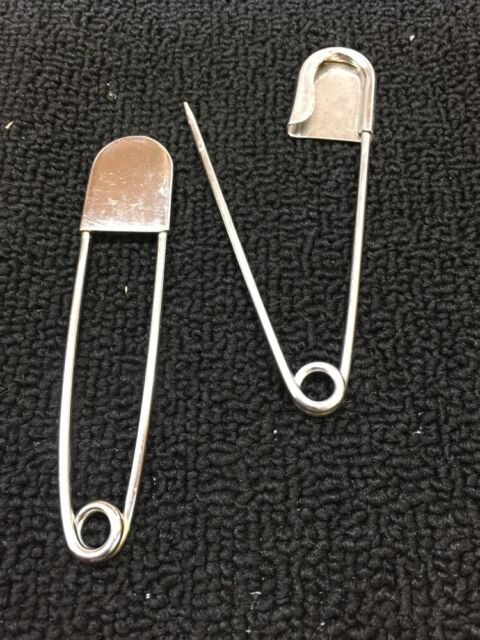 "Lot of 2 Large Big 5"" inch Laundry Metal Safety Pins Kilt Diaper Horse Pin"