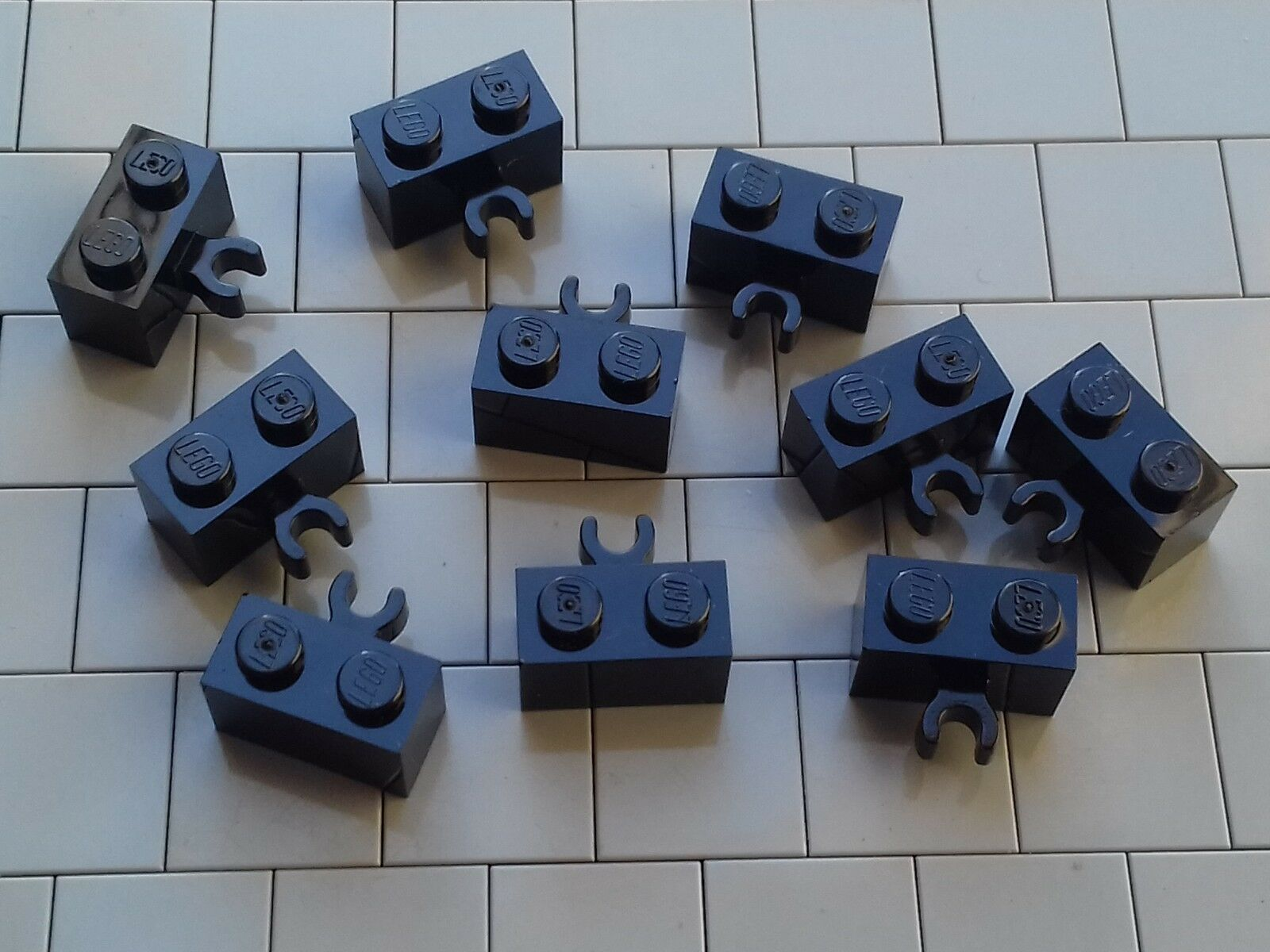 LEGO Dark Gray 1x2 Brick Modified With Vertical Clip Lot of 9