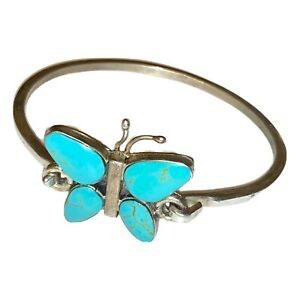 Vintage-925-Sterling-Silver-Mexico-Turquoise-Butterfly-Bangle-Bracelet-16g