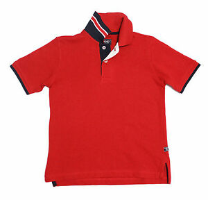 NWT-E-Land-Kids-Boys-039-Polo-with-Tape-Collar-in-Red-Size-2T