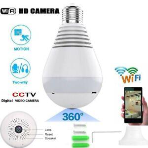 Mini WiFi Security SPY Hidden 1080P IP Camera 360° Panoramic Wireless Light Bulb