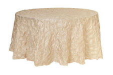 120 inch Pinwheel Pinched Taffeta Round Tablecloths Ivory