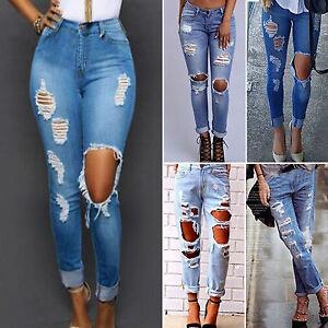 damen jeanshose zerrissen ripped boyfriend jeans l cher. Black Bedroom Furniture Sets. Home Design Ideas