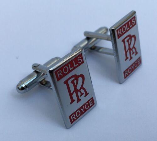 Rolls Royce Coche Oval Cromo Plateado Gemelos en Caja de Regalo-Rojo