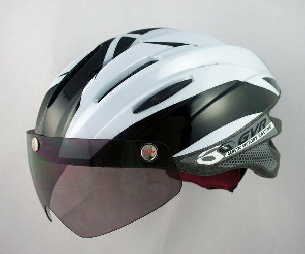 Taiwan GVR G-203V Cycling Helmet W Magnetic Visor Illusion White Free Shipping