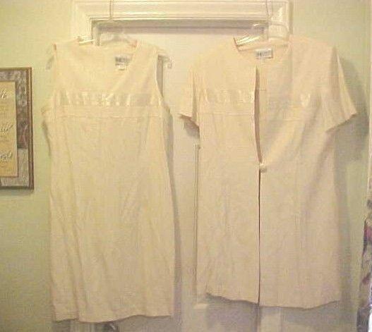 Womens 2 Piece Dress Suit Outfit Ivory Sleeveless Dress Matching Jacket Size 16P
