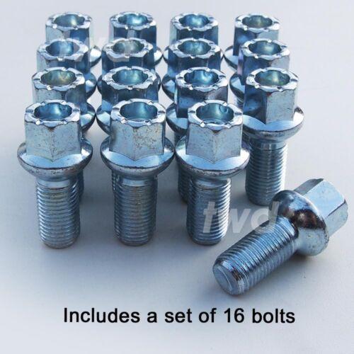 R40 16 x ALLOY WHEEL BOLTS FOR SKODA 14MM RADIUS ROUND LUG STUD NUTS M14x1.5