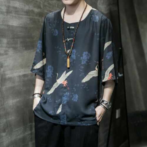 Summer Men/'s T Shirt Chinese style Printed Tops Half Sleeve Tees Loose Casual L