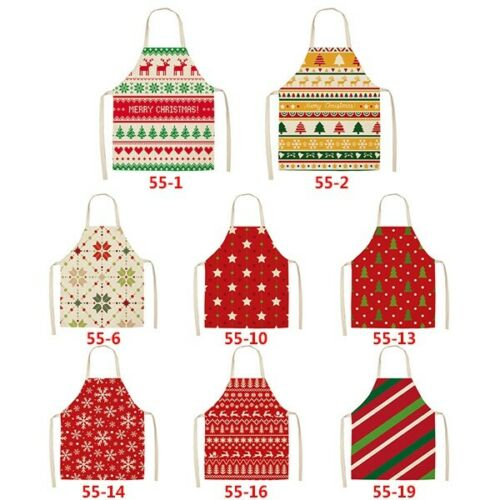 Red Christmas Aprons Home Kitchen Cooking Wear Bib Unisex Xmas Party Santa Gift