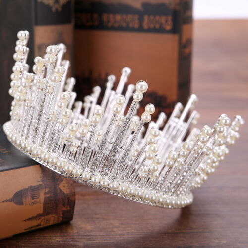 """3 Colours Pearl Crystal Queen Crown Wedding Bridal Party Pageant Prom 5.75/"""" Wide"""