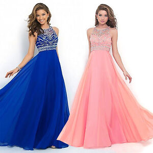 12a3cd28beec5 Long Chiffon Lace Evening Formal Party Ball Gown Prom Bridesmaid ...