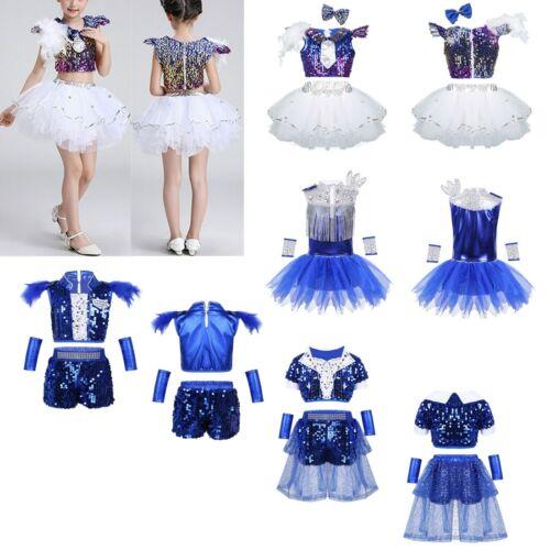 Jazz Hip Hop Dance wear Costume Shiny Sequins Outfit Crop Top+Shorts//Tutu Dress