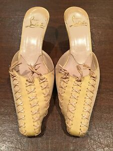 33f5efb3bf7 Image is loading CHRISTIAN-LOUBOUTIN-Yellow-Silk-Taffeta-Slides-Mules-Kitten -