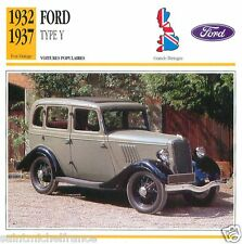 FORD TYPE Y 1932 1937 CAR VOITURE Great Britain GRANDE BRETAGNE CARTE CARD FICHE
