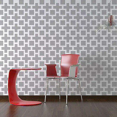 Square Plus Allover - SMALL - Reusable Stencils for Easy and Fun Wall Decor DIY