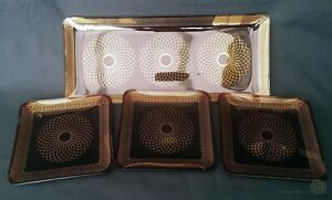 VTG-Ruby-Red-Glass-Tray-Dish-Set-Gold-Geometric-Line-FREE-Delivery-UK