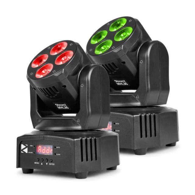 Beamz MHL36 Moving Head set 2 projecteurs LED 4x9W 4 en 1 RVBB 4 shows noir