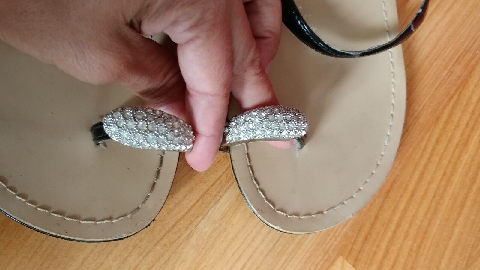 Embellished Toe Loop flat Slide flip flopWomens summer flat Loop flip flops 76e7b6