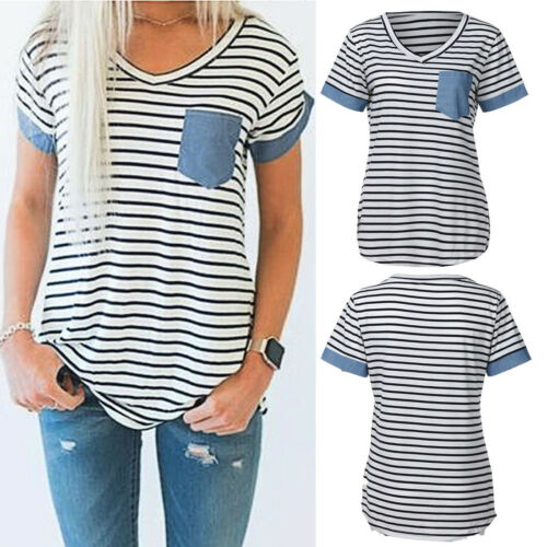 Fashion Women Lady Short Sleeve Striped Front Pocket T Shirt Blouse Tops Clothes