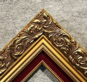 3.25 Classic GOLD Red Ornate WOOD Picture Frame Wedding Frames4art 1216GR